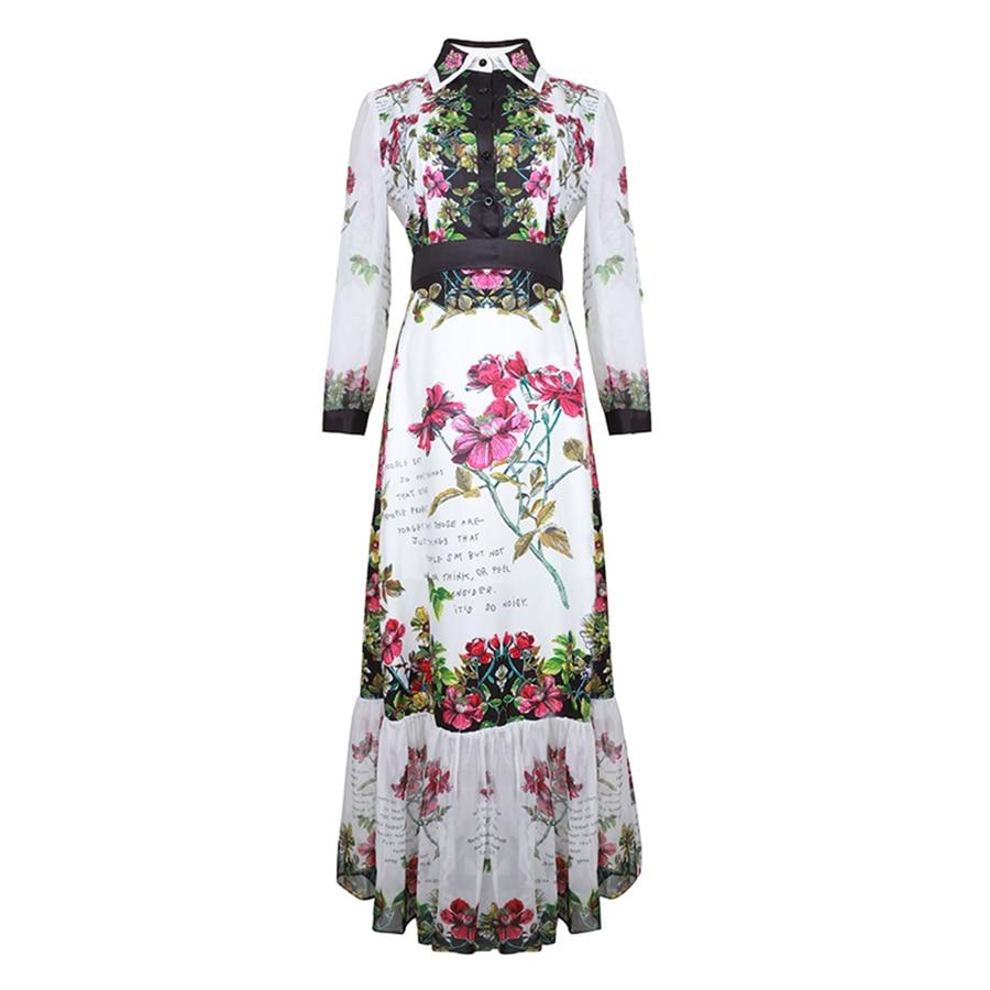 VERDEJULIAY luxe imprimé robes 2019 été femmes mode manches longues perles col fleur lettre imprimer mi-mollet Boho robe