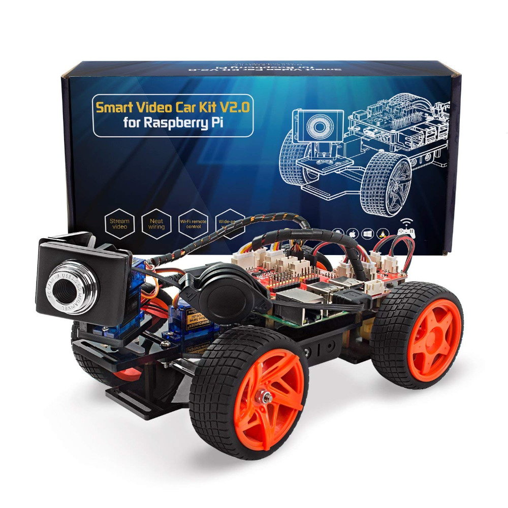 SunFounder App Controllato A Distanza Robot Per Raspberry Pi Modello 3B + B 2B Smart Video Car Kit V2.0 RC Auto (RPi Non incluso)