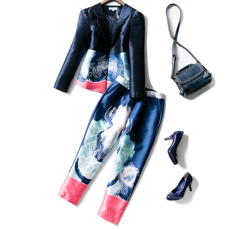 Autumn Women Elegant Runway Pants Suits Hidden Breasted Blazer Ankle Length Trousers Casual Printing Two Pieces