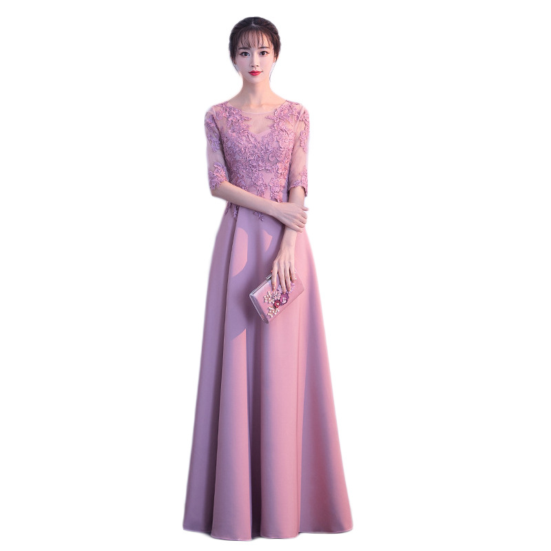 2019 Spring New Fashion   Evening     Dress   Illusion O-neck Half Sleeve Floor Length Appliques Flower Embroidery Prom Party   Dresses