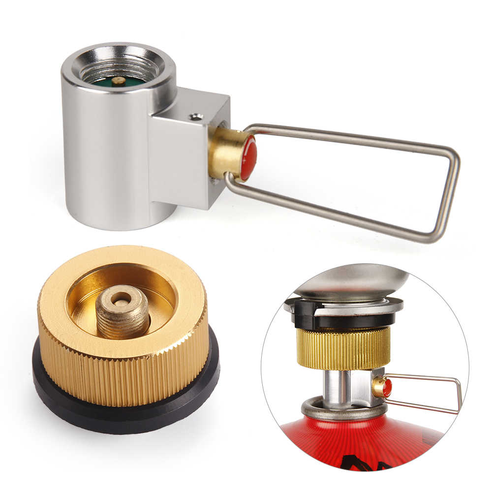 Flat Gas Tank Adapter Valve Canister Gas Convertor Shifter Camping Stove Metal Gas Refill Adapter Cylinder Refill Stove Adapter