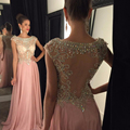 Chiffon Uma Linha de Vestidos de Baile 2016 Sexy Colher Cristal Luxo contas da Luva do Tampão Mulheres Formal Longo Vestido de Festa vestido de festa