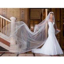 Custom Made Vestidos De Novia Veil Ivory/White Satin Applique Beading Lace Mermaid Wedding Bridal Dress