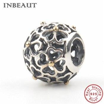 925 Sterling Silver Hollow Clover Beads fit Pandora Bracelet 100% Original S925 Daisy Flower Charm 2018 Vintage Jewelry Making