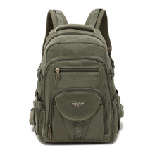 AERLIS Design Men Backpacks Canvas College Laptop Bag Outdoor Hiking Teenager Military Travel Large Cmping Backpack Male 9118
