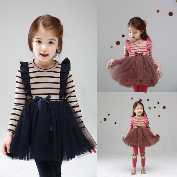 a7550bf1d0ce New 2014 Spring Winter baby Kids Girl Baby Clothing Girls Striped Lace  Princess Party Dresses Kids Full Sleeve Dress 3-7 Years