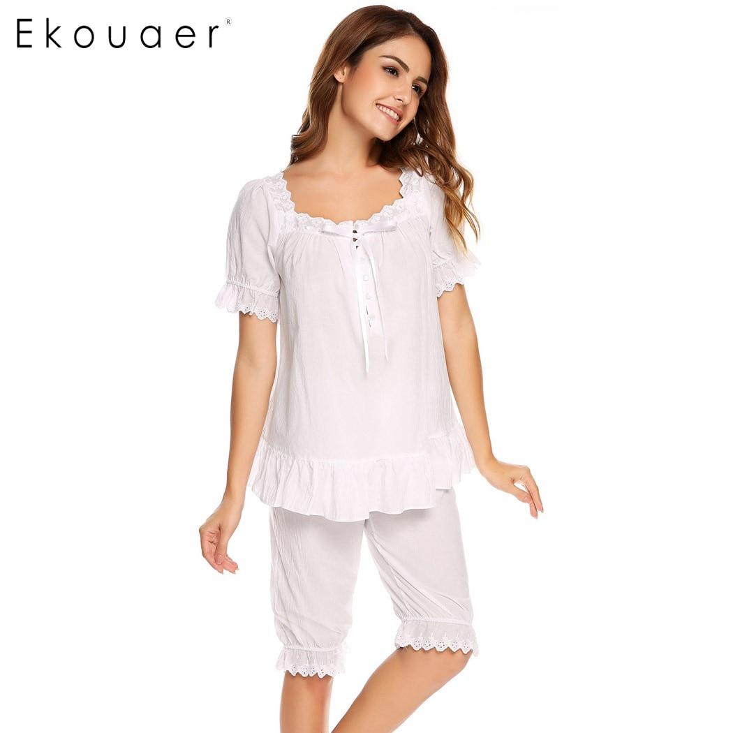 Ekouaer Vintage   Pajamas     Set   Women Lace Patchwork Sleepwear Victorian Short Sleeve Nightwear Summer Cute Nightgown Female   Pajama