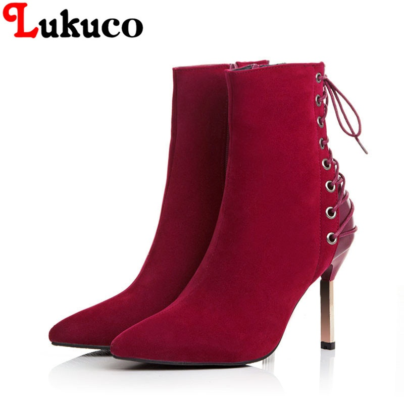 2018 lace up CONCISE ankle boots large CN size 36 37 38 39 40 41 42 43 high heel design women Boots real pictures free shipping