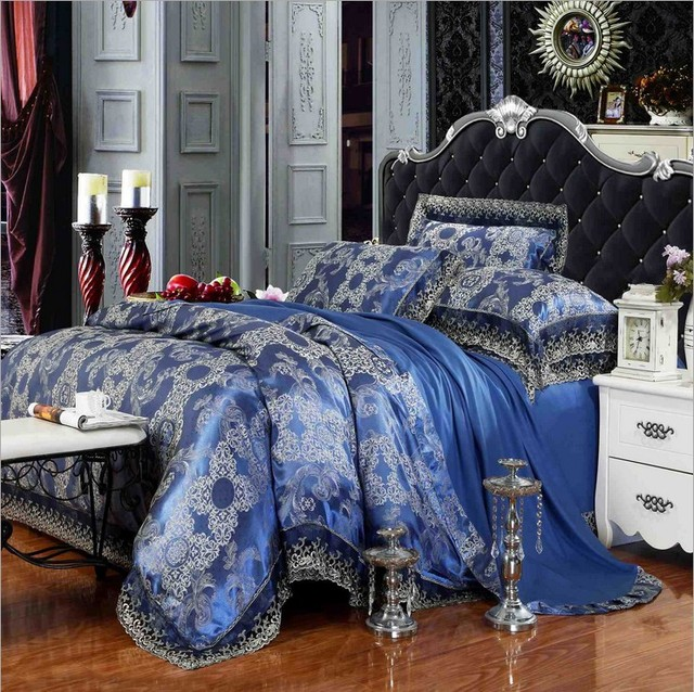 Luxury Lace Royal Blue Bedding Set 4pcs King Queen Size Jacquard Bedspread Duvet Cover