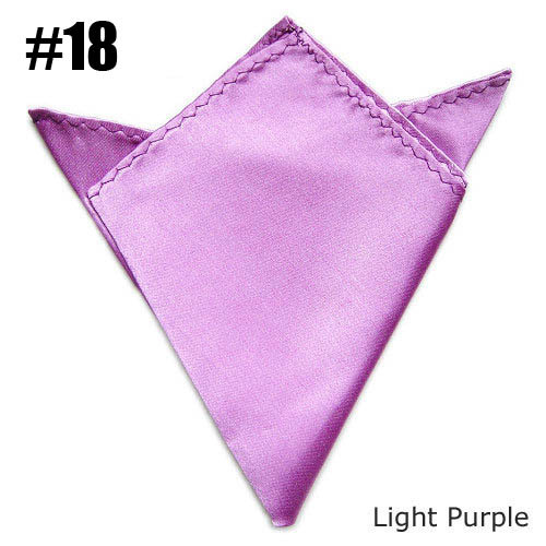 Fashion Solid Color Handkerchief Mens Satin Pocket Square Light Purple Free Shipping 24 Colors For  Choose Wholesale