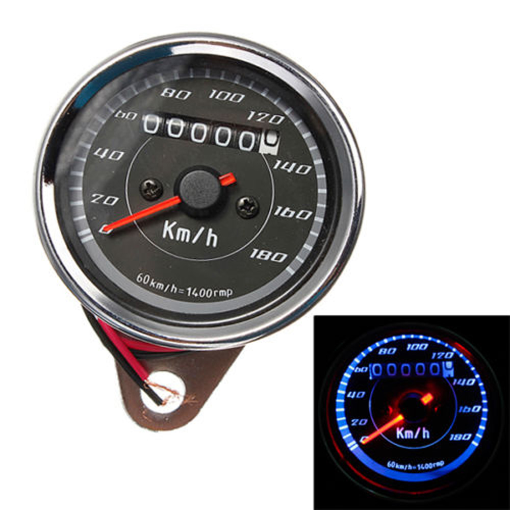 new Universal Motorcycle Dual Odometer Speedometer Gauge 12V LED Backlight Signal Light Dirt Sports Street Bikes