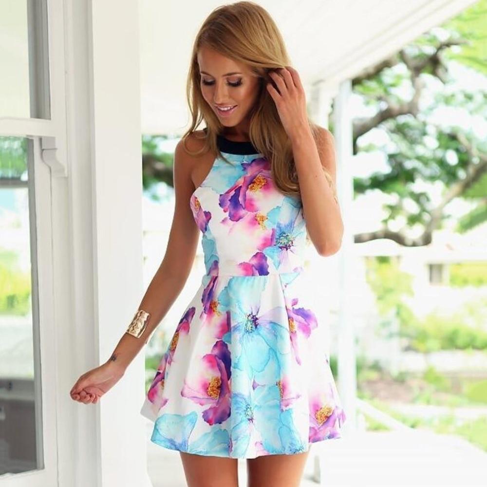 Sexy Dress summer women Floral Print Dress Ladies Backless Sleeveless Above Knee Mini Dress Female Evening Party Beach Vestidos