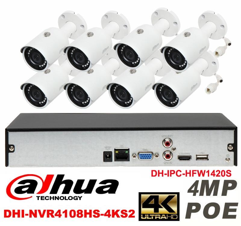 Dahua original 8CH 4MP H2.64 DH-IPC-HFW1420S 8pcs bullet IP camera POE DAHUA DHI-NVR4108HS-4KS2 Waterproof security camera kit видеокамера ip dahua dh ipc hdbw2220rp zs 2 7 12мм 1 2 8 1984x1225
