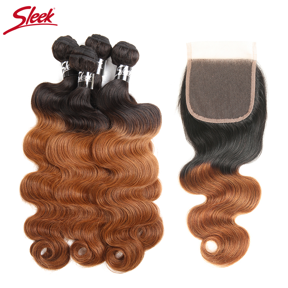 Sleek Ombre Brazilian Hair Body Wave 4 Bundles With Closure Free Part Color 1B 30 Remy