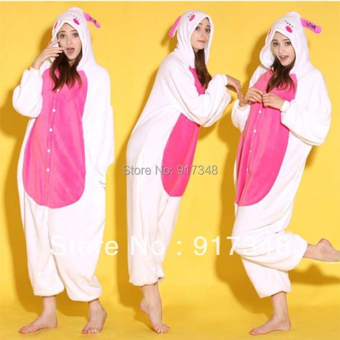 Cartoon Animal Love Rabbit Unisex Adult Flannel Onesies Onesie Pajamas  Jumpsuit  Hoodies Sleepwear For Adults