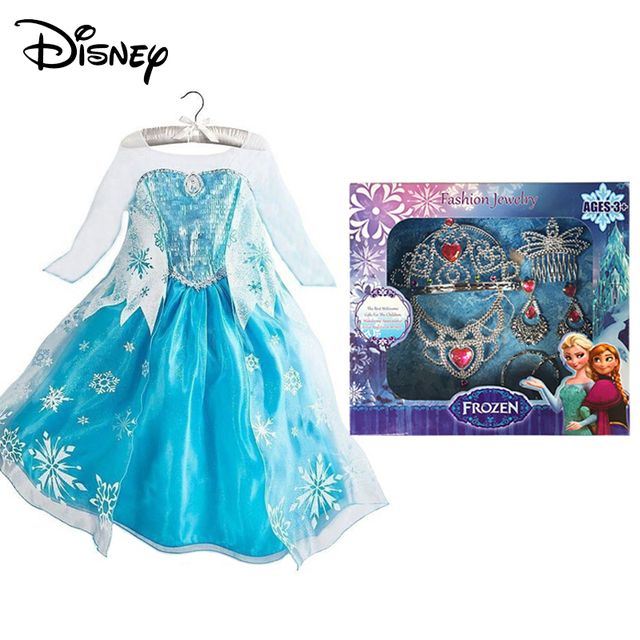 762ec9be7b1 Disney Frozen Girl Anna Dress up Costume Children Flower Print Princess  Party Cosplay Fancy Dress with Cloak for Halloween Gift