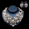 Lan palace african jewelry sets gold plated bridal jewelry sets Austrian crystal necklace and earrings for wedding free shipping