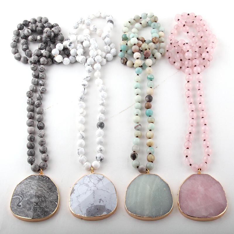 Fashion Natural Stone long Knotted Necklaces Facet Stone Drop Pendant Women Ethnic Necklace