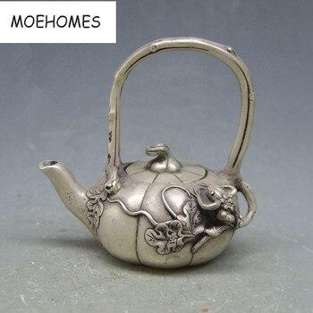 China Tibet Old Vintage decoration miao Silver Frog, lotus flower statue pot Teapot metal handicraft wine pot