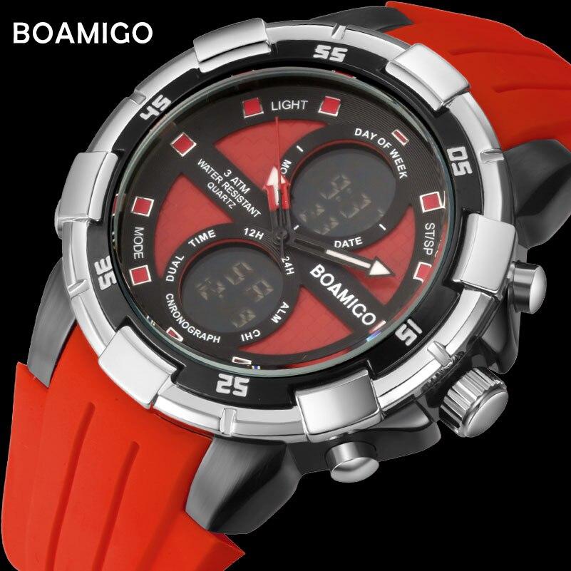 BOAMIGO marca degli uomini orologi sportivi orologi digitali orologi da polso in gomma cronografo allarme rosso 30 m water resistant regalo orologio