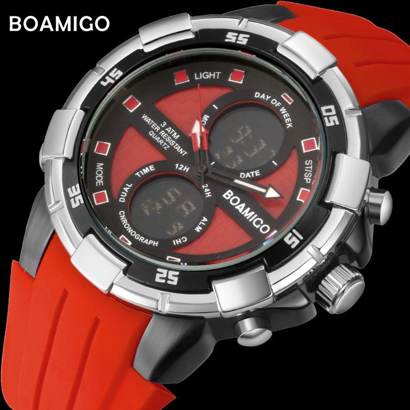 BOAMIGO marke männer sportuhren männer digitaluhren rot gummi armbanduhren chronograph alarm 30 mt wasserdicht geschenk uhr