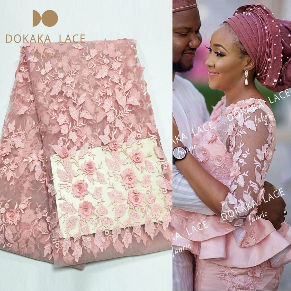 Pink Color 3D Flower African French Net Lace Fabric With Beads Noble Style Applique Guipure Mesh