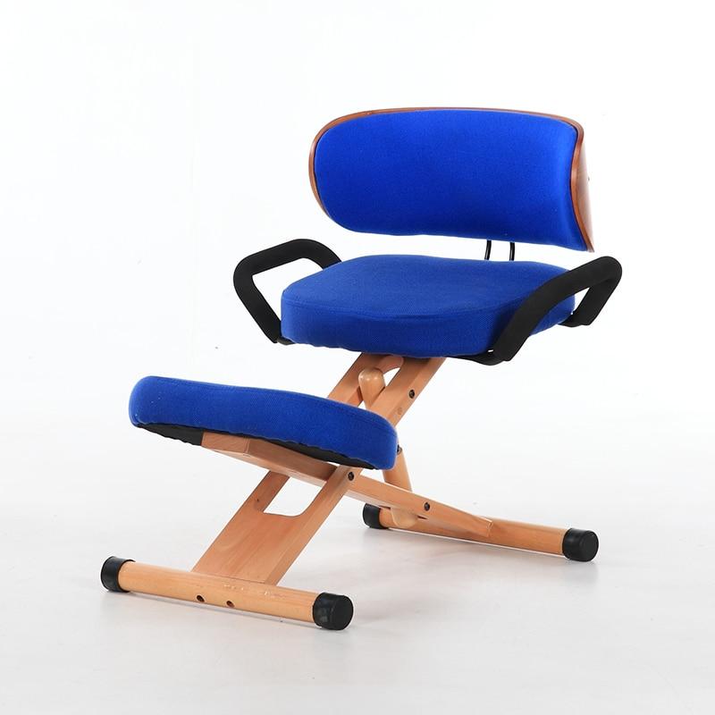 Adjustable Height Ergonomic Kneeling Chair With Back And Handle Wood Office Furniture Kneeling Posture Work Chair Knee Stool