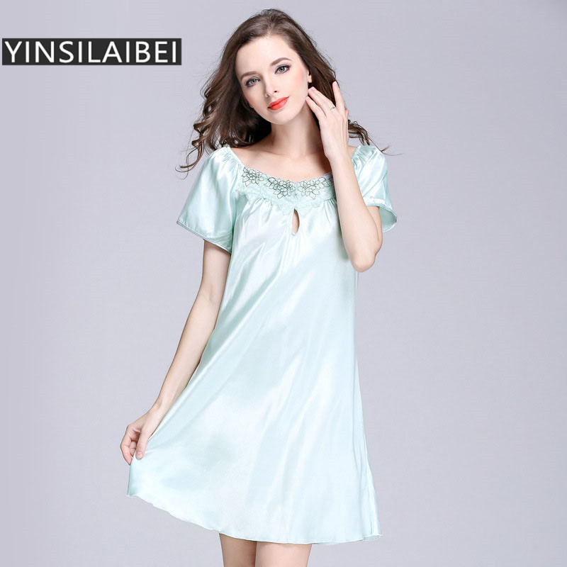 Sleeping Gown: Faux Silk Dressing Nightgown Lace Satin Nightgown For