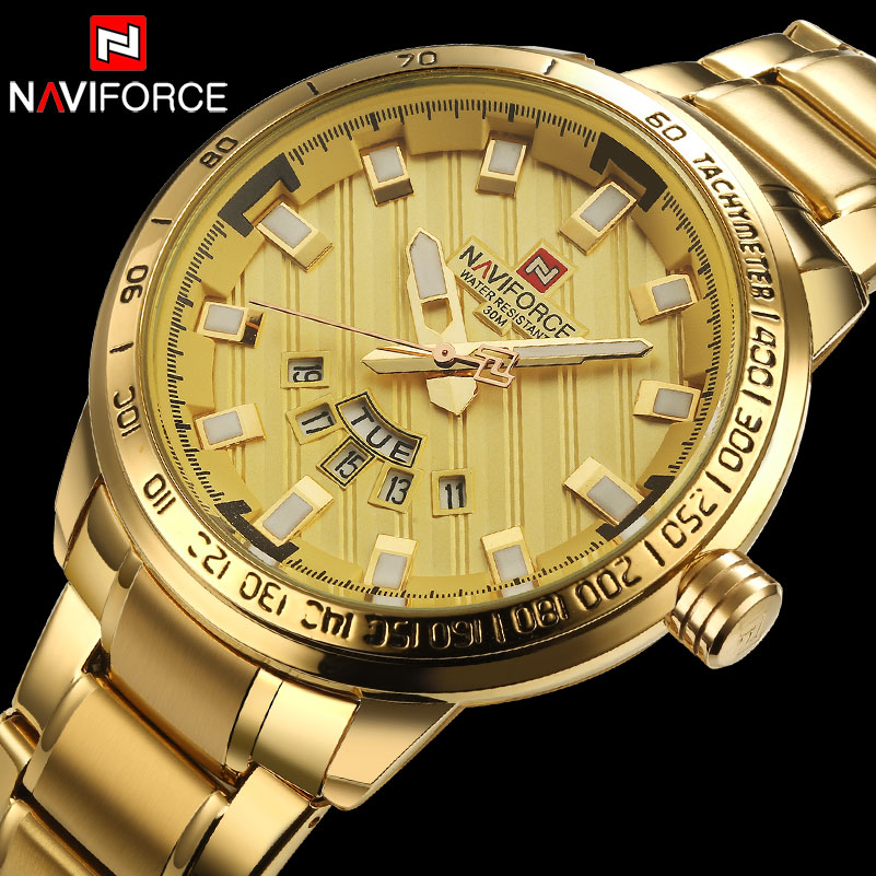 NAVIFORCE Top Brand Luxury Gold Watch Men Steel Analog Quartz Wrist Watch Mens Waterproof Sport Watches Relogio Masculino