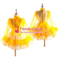 Free Shipping Sissy Maid Yellow Organza Lockable Uniform Dress Cosplay Costume Tailor-made