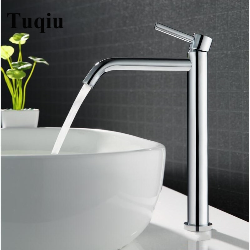 Tuqiu High Quality Tall bath Sink faucet bathroom slim hot and cold basin water mixer tap