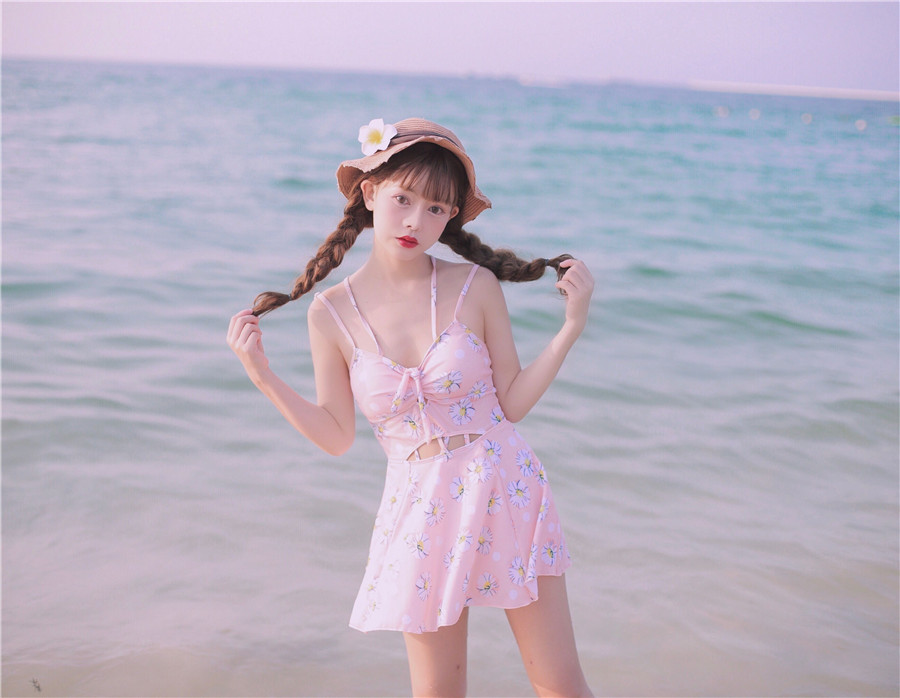 The Latest Japanese Style Kawaii Girl One Piece Swimsuit Hollow Out Flowers Printed Sexy Beach Wear Bodycon Slim Women Swimwear fashionable strappy printed cut out one piece swimsuit for women