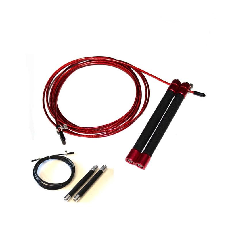 UIC-JR06 Kırmızı, Gümüş Hız Jump Halat Rulman Metal Saplı Atlama, Paslanmaz Steldir Kablo Crossfit Fitness Ekipmanları