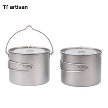Tiartsian Kitchen Titanium Folding Cookware Outdoor Camping Hanging Pot Home Pan Hang