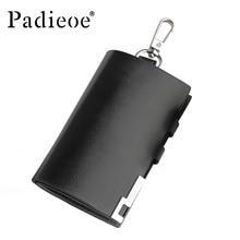 Padieoe Business Card Holder Wallet 100% Genuine Leather Key Bag Unisex Solid Coin Purse Men's Wallet Car Housekeeper Wallet