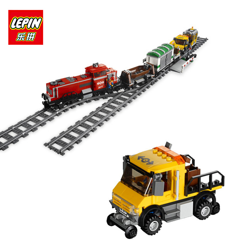 LEPIN 02039 898Pcs Compatible With lego City RED CARGO TRAIN 3677 Model Building Kits Blocks Brick RC Toys for Children Gift new lepin 16008 cinderella princess castle city model building block kid educational toys for children gift compatible 71040