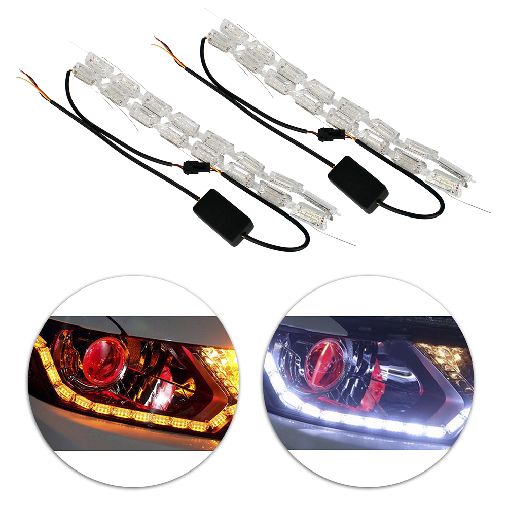 Komodo 2PC Flexible Switchback 2-Color White//Amber LED Fork Turn Signal DRL Daytime Running Light Waterproof Strips Universal Fits Motorcycle SuperMoto MX DirtBike Motocross Street Legal Kit