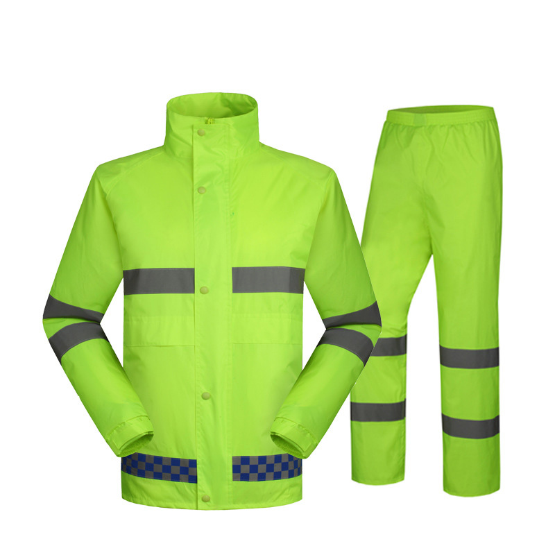 SPARDWEAR waterproof high visibility reflective jacket and pant fluorescent orange and yellow split raincoat free shipping