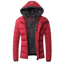 2016 Winter Male High Quality Hoodies Faux Two Piece Cotton-padded Jacket Casual Men Zippered Hoodie Outerwear Thermal Coat Y092