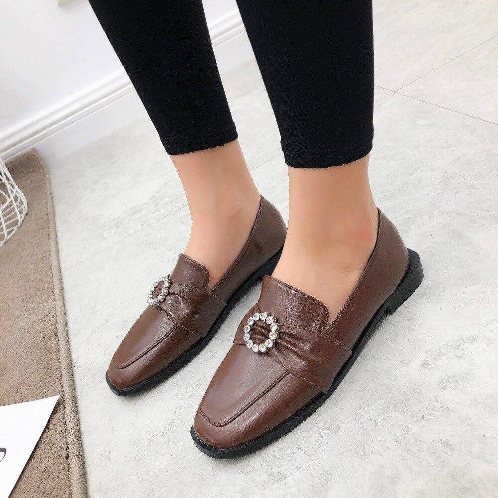 Façons Appartements Slip Molan En Strass Doux Mocassins Cercle Black La 2018 Mode De Cuir Designers 2 Marque Peluche Chaussures Sur Femme brown Boucle Uwxq6PUvr