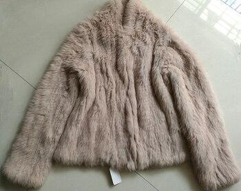 2017 Winter  100% Real Rabbit Fur Coat  Natural Rabbit Fur Knitted Jacket BE1413-2 Full Jacket Free Shipping 1