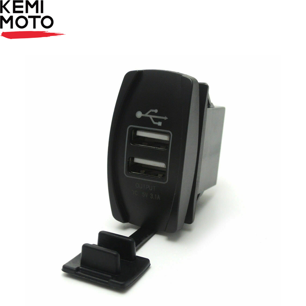 KEMIMOTO ATV 12V-24V USB Charger Backlit Rocker Switch Motorcycle Charging For John Deer For Can Am For Polaris RZR 900 800 1000