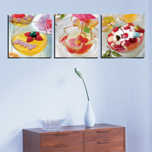 Home Kitchen Decor Pictures Fresh Fruit Salad Wall Decorative Oil Painting Canvas 3 Panel Art Core For Unframed Modern Realist
