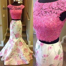 CRYSTAL JIANG 2018 Big Jewel Collar Cap Sleeves Pink Lace Applique Beaded Custom made Two Pieces Mermaid Floral Prom Dress