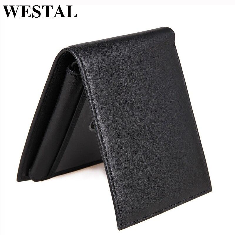 WESTAL Purse Men Card-Holder Genuine-Leather Coin-Pocket Fold-Dollar Price New