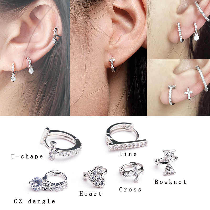 Sellsets  New Fashion 1 Piece Elegant Cubic Zirconia Tragus Daith Rook Cartilage Hoop Piercing Jewelry
