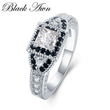 [BLACK AWN] 5g 925 Sterling Silver Jewelry Trendy Engagement Rings for Women Black&White Stone Wedding Ring C412