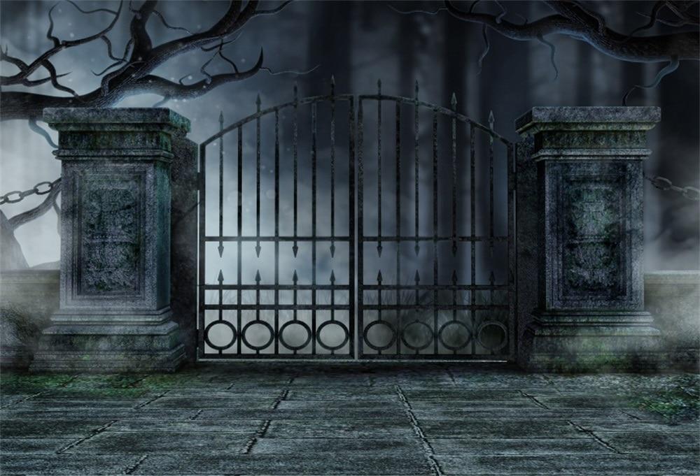Laeacco Dark Night Closed Garden Gate Scene Photography
