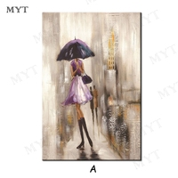 MYT Free Shipping Hot Sale Pictures Women Hold Umbrella Oil Painting Canvas Art Artwork Living Room Decoration Wall Art Unframed
