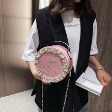 2019 Fashion Round Lace Women Bags Pu Leather Circular Pink Flower Shoulder Bags Knitted Pearl Handbags Crossbody Bags for Women pink pu zip design shoulder bags